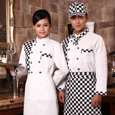 black white block high quality chef blouse coat