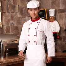 long sleeve red button winter chef coat uniform design