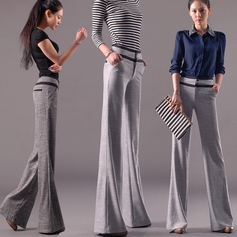 comfortable breathable linen fabric flare pant for women ...