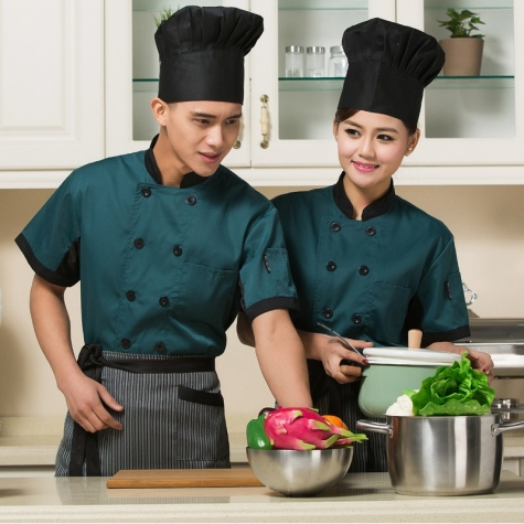 modern fashion blackish green chef coat