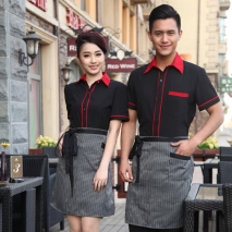 classic short sleeve stand collar waiter shirt