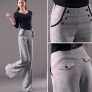 Korea linen invisible zipper office career work women's wide leg pant trousers jeans