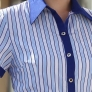blue purple stripes women man waiter uniform