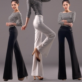 young slim fit thin knitted fabric bow decoration women's dress pant ,wide-leg pant ,work uniform trousers