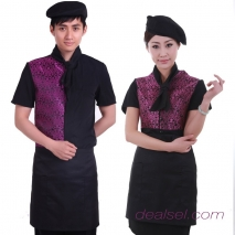 imitation silk fabric jacquard waiter waitress shirt apron