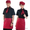 summer high quality fabric coffee bar waiter waitress uniform shirt