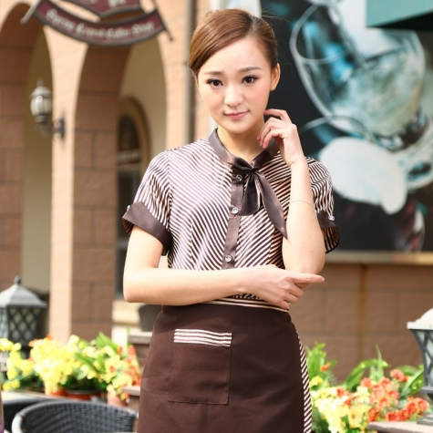 butterfly collar women shirt workwear waitress uniform