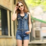 fashion casual slim fit sex sleeveless overall denim women's suits jumpsuit