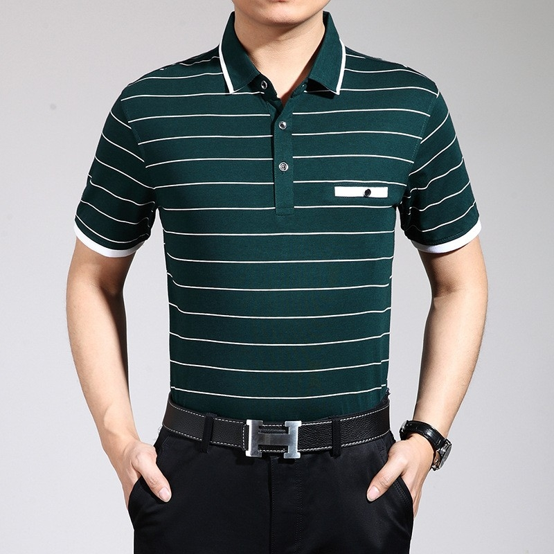 Healthy green fabric summer shirt for business men tianex for Thick material t shirts