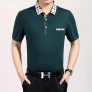 simple short sleeve turndown collar pure color T-shirt
