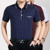 2015 middle-aged small leaf print men's tshirt