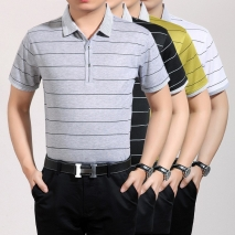 horizontal stripe pure cotton T-shirt for office men