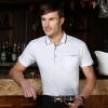 noble knitting jacquard men polo shirt short sleeve for summer
