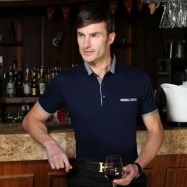 solid color formal polo shirt for business man dressy design