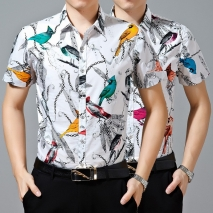 nice bird printing high-grade the silky luster man shirt