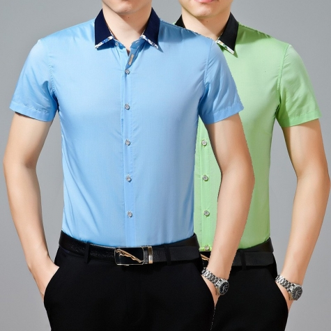 stand collar solid color design men's dressy shirt