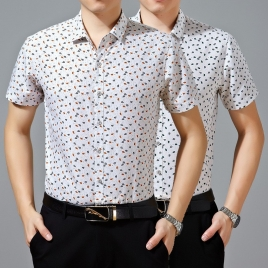 2015 summer mercerized cotton fabrics middle aged men shirt