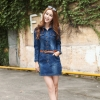 long sleeve single breasted young woman jumpsuits casual dress