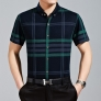 Grid pattern pure cotton double the silky mercerized cotton fabrics men tshirts