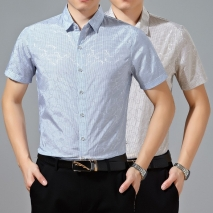 Summer high quality jacquard short sleeve shirt for men