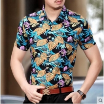 India style man's floral print short sleeve shirt