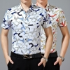 2015 brands short sleeve casual beach  man shirt