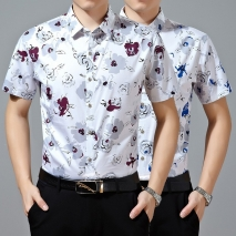 Singapore fashion summer stand collar printing shirt
