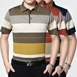 Knitted stripes summers men's short sleeve polo shirt