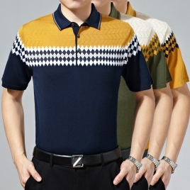 absorbing sweat short sleeve knitting T-shirt men's polo