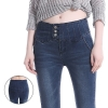 Europe design seamless fits side opening button wide waist autumn winter woman jeans pencil pants