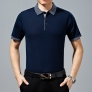 Summer mulberry silk  half sleeve jacquard suit polo shirt