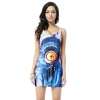 modern eye printing women tank tops slim dress