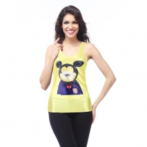 yellow cartoon print women tank tops