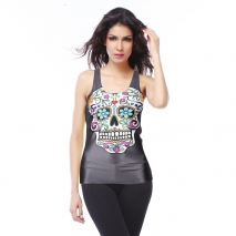 personality colorful skull printing women singlets camis