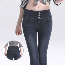 elastic high waist button pocket argyle denim woman's sexy comfortable jeans pants