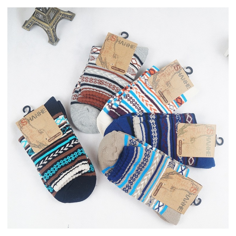 Knitting Pattern For Cotton Socks : thicken stripes knitted mens cotton socks - TiaNex