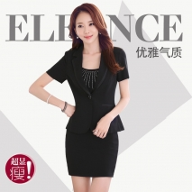 short sleeve summer formal design business suit jacket + skirt