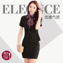 summers short sleeve tailored fake butterfly collar skirt suits