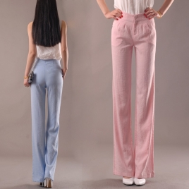 top quality fabric summer fit linen women flare pants