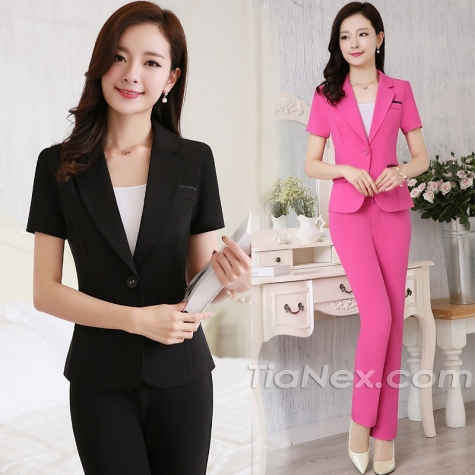 Korea design BLKE one button summer skirt suits/ pant suits