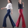 autumn women fashion sanding fabric flare bell bottom pant,women trousers