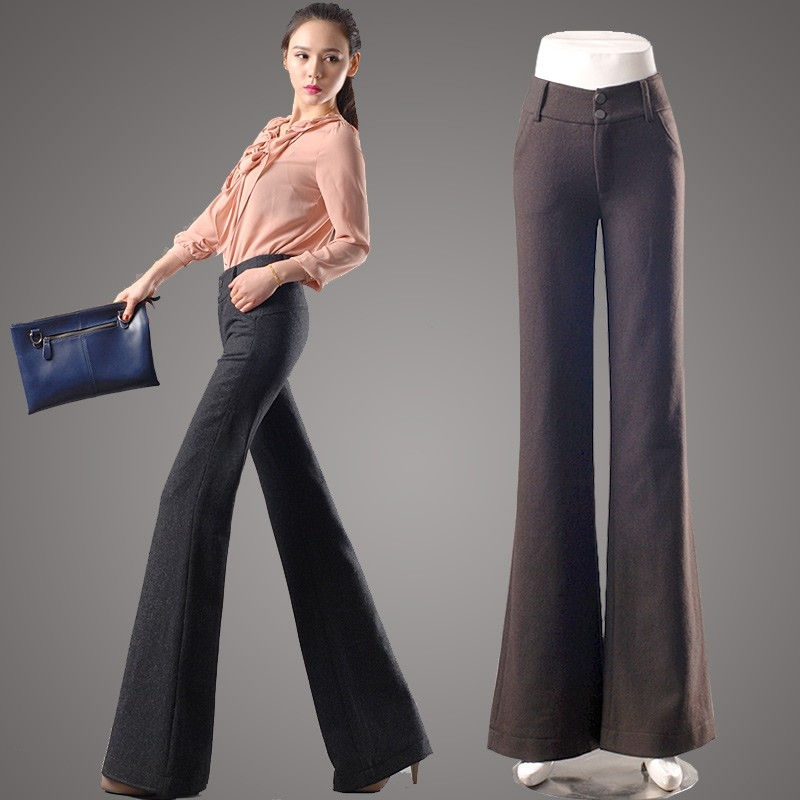 Winter Fashion Woman Office Formal Woolen Pantflare Pant - TiaNex