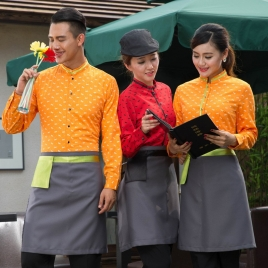 horse print  waiter uniform shirts and apron