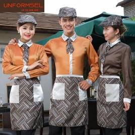 upgrade satin like fabric waiter uniform shirts apron