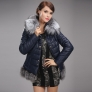 new design winter short style eider duck down big fox collar navy blue women's jacket coat