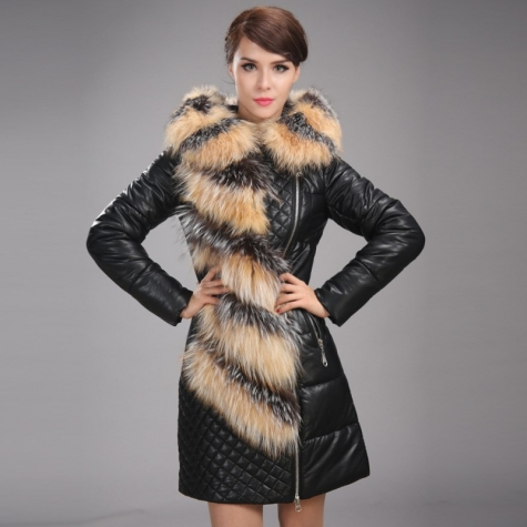 2014 winter Europe new fashion deluxe long design down coat fox collar woman down coat