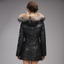 winter fox collar white duck down upgraded PU leather thicken women coat
