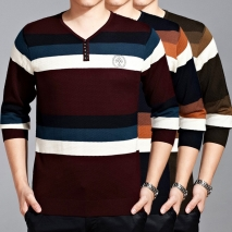 button collar long sleeve stripes man T-shirts