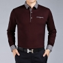 collar solid color formal design work office men's t-shirt