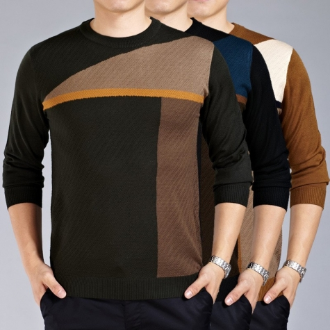 Fashion patchwork knitted round collar high quality men 39 s for Round collar shirt men
